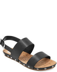 Sandalias planas de cuero negras