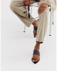 Sandalias planas de cuero negras de ASOS DESIGN