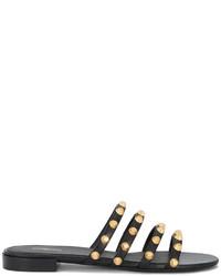 Sandalias planas de cuero negras de Balenciaga