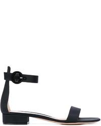 Sandalias planas de cuero negras de Gianvito Rossi