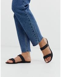 Sandalias planas de cuero negras de Glamorous