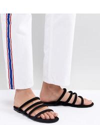 Sandalias planas de cuero negras de Monki