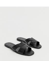 Sandalias planas de cuero negras de New Look