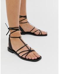 Sandalias planas de cuero negras de Other Stories