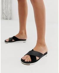 Sandalias planas de cuero negras de UGG