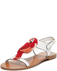 Sandalias planas de cuero rojas de Kate Spade