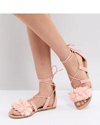 Sandalias planas de cuero rosadas de ASOS DESIGN
