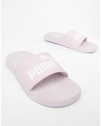 Sandalias planas de cuero rosadas de Puma