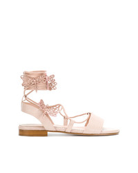 Sandalias planas de cuero rosadas de RED Valentino