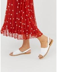 Sandalias planas de cuero tejidas blancas de ASOS DESIGN