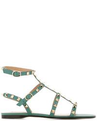 Sandalias planas de cuero verde oliva de Valentino Garavani