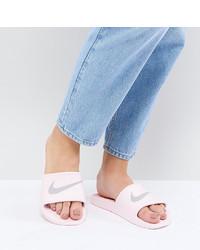 Sandalias planas de cuero violeta claro de Nike