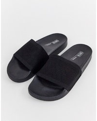 Sandalias planas de goma negras de ASOS DESIGN