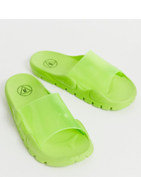 Sandalias planas de goma verdes de Missguided