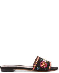 Sandalias planas de lona bordadas negras de Tabitha Simmons