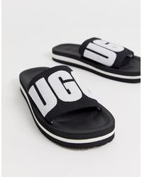 Sandalias planas de lona bordadas negras de UGG