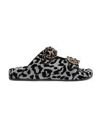 Sandalias planas de lona con adornos negras de Dolce & Gabbana