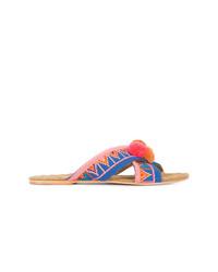 Sandalias planas de lona en multicolor de Figue
