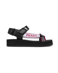 Sandalias planas de lona gruesas negras de Prada