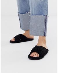 Sandalias planas de lona negras de ASOS DESIGN
