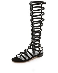 Sandalias romanas altas de ante negras