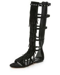 Sandalias romanas altas de ante negras de Alice + Olivia