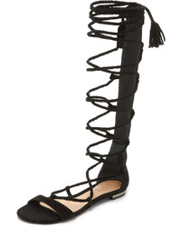 Sandalias romanas altas de ante negras de Schutz
