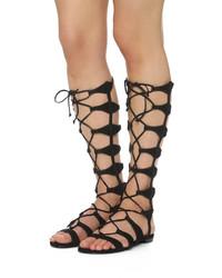 995395371 ... Sandalias romanas altas de ante negras de Schutz ...