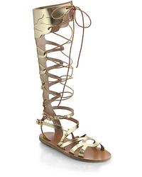 Sandalias Romanas Altas de Cuero Doradas de Ancient Greek Sandals Agotado