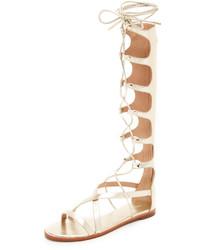 Sandalias romanas altas de cuero en beige de Rachel Zoe