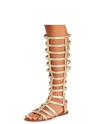 Sandalias romanas altas de cuero marrón claro