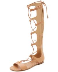 Sandalias romanas altas de cuero marrón claro de MICHAEL Michael Kors
