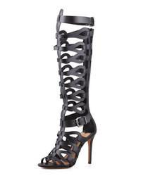 Sandalias romanas altas de cuero negras