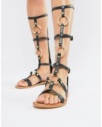 Sandalias romanas altas de cuero negras de ASOS DESIGN