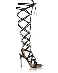 Sandalias romanas altas de cuero negras de Gianvito Rossi