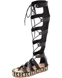 Sandalias romanas altas de cuero negras de Loeffler Randall