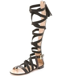 Sandalias romanas altas de cuero negras de MSGM