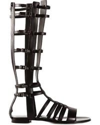 Sandalias romanas altas de cuero negras de Saint Laurent