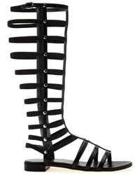 Sandalias romanas altas de cuero negras de Stuart Weitzman