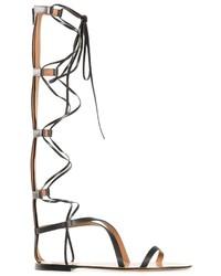 Sandalias romanas altas de cuero negras de Valentino Garavani