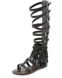 Sandalias romanas altas negras de Sam Edelman