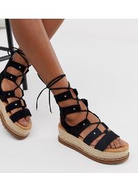 Sandalias romanas de ante negras de ASOS DESIGN