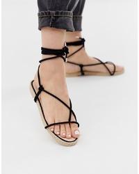 Sandalias romanas de ante negras de SIMMI Shoes