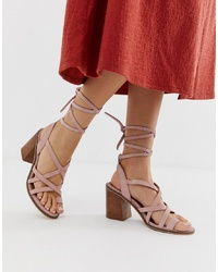 Sandalias romanas de ante rosadas de ASOS DESIGN
