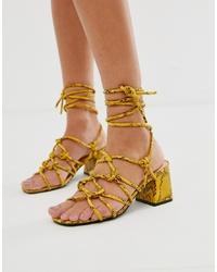 Sandalias romanas de cuero amarillas de Public Desire