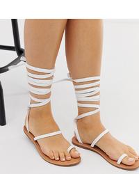 Sandalias romanas de cuero blancas de Raid Wide Fit