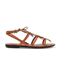 Sandalias romanas de cuero con adornos marrónes de Tod's