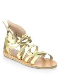 Sandalias romanas de cuero doradas