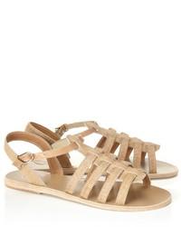Sandalias romanas de cuero en beige