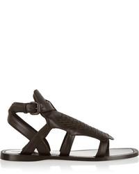 Sandalias romanas de cuero en marrón oscuro de Bottega Veneta